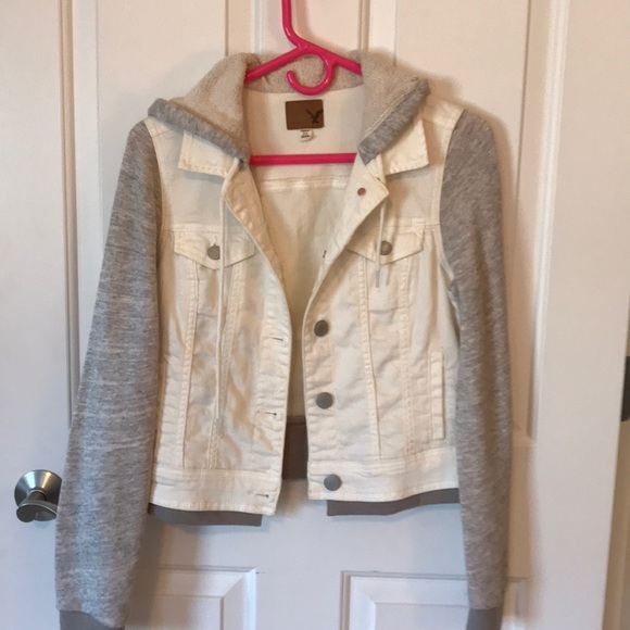 Hollister Jackets & Blazers - Hollister White denim and gray sweatshirt jacket